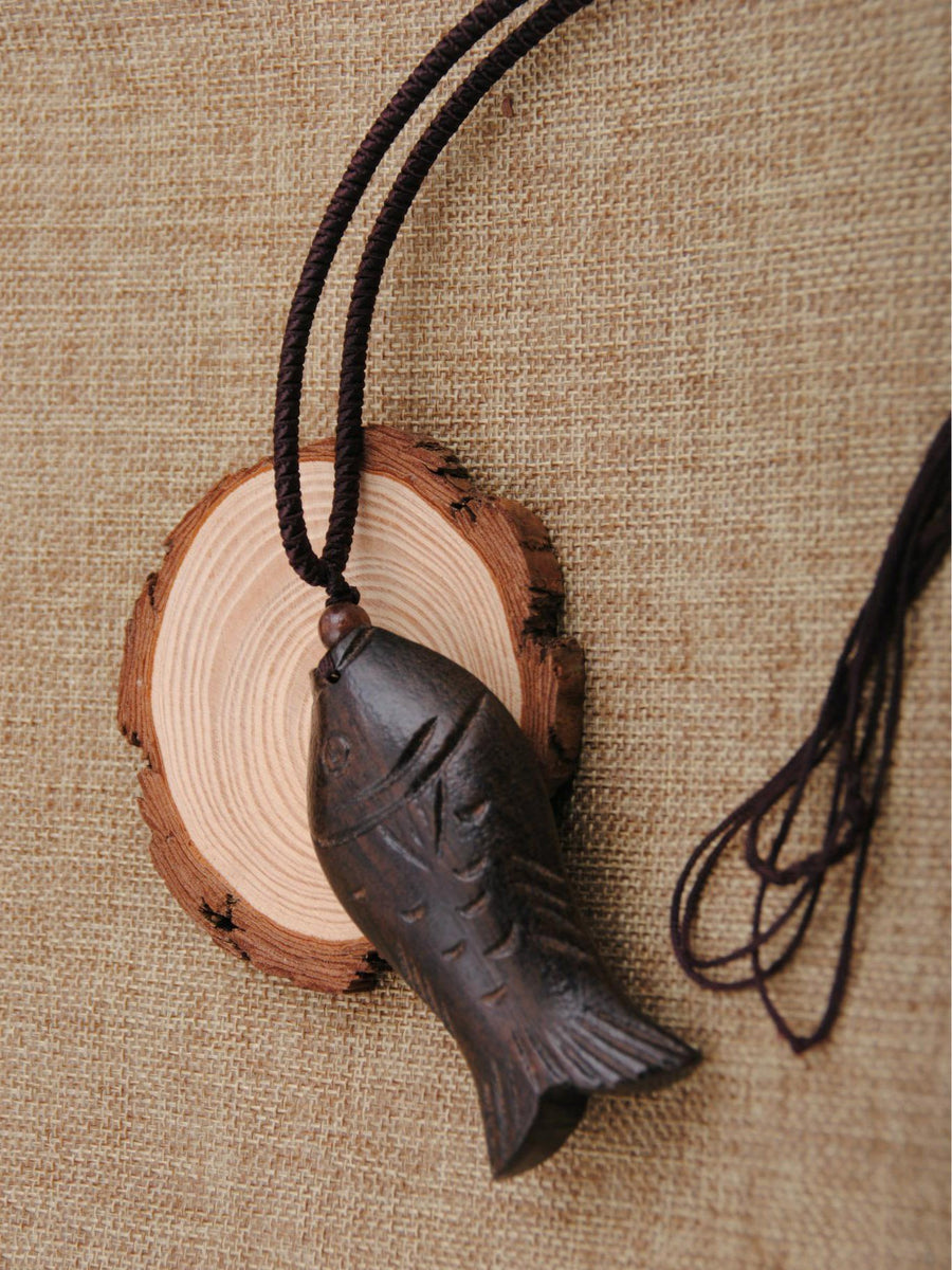 Authentic Vintage Wooden Fish Necklace in Brown Color