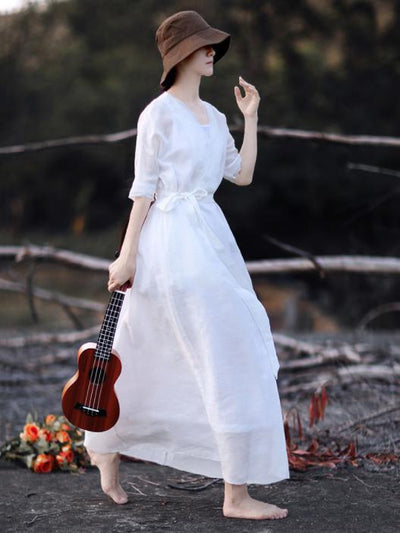Classical Retro White Long Dress with Belt