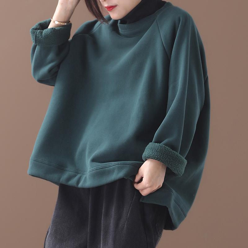 Plus Size - Casual Solid Color Turtleneck Sweatshirt
