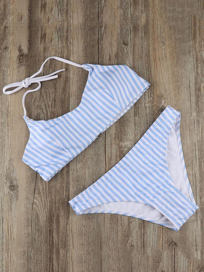 Striped Bandeau Lace Up Bikinis Swimwear