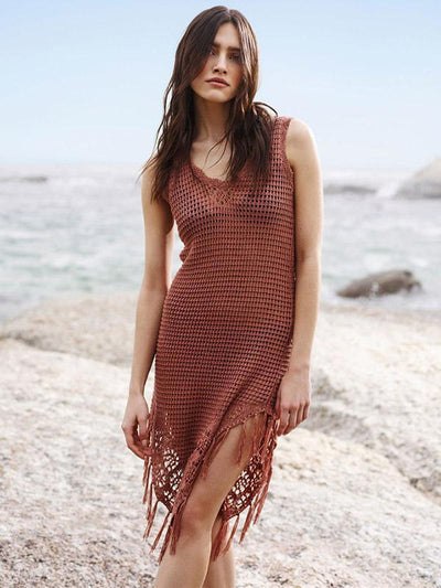 Knitted Tasseled Brown Beach Mini Dresses