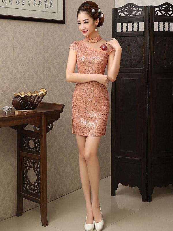 Lace Elegant Short Slim Cheongsam Dress