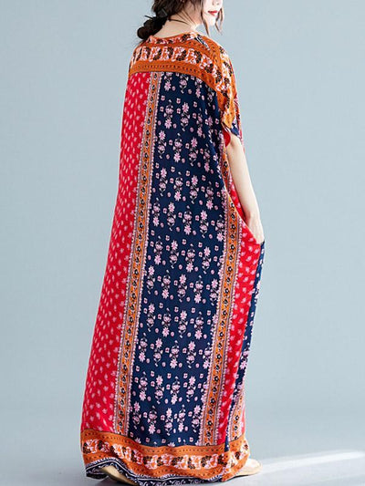 Loose National Style Retro Printed  Long Dress