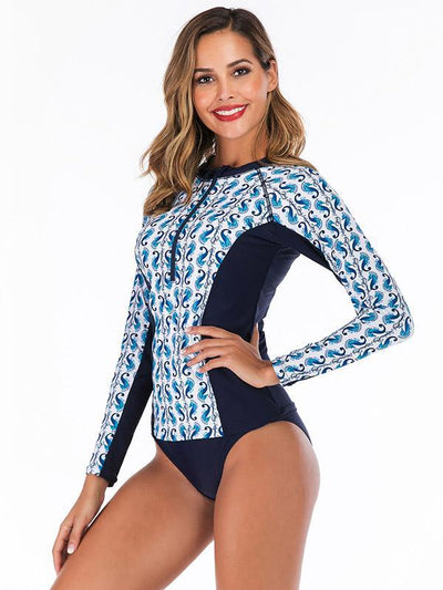 Printed Zipper Two Pieces Wetsuit