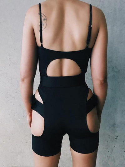 Spaghetti-neck Buckle Backless Jumpsuits