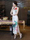 White Lotus Side Split Long Cheongsam