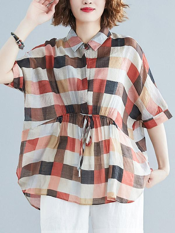 Loose Plaid Lace-up T-shirt