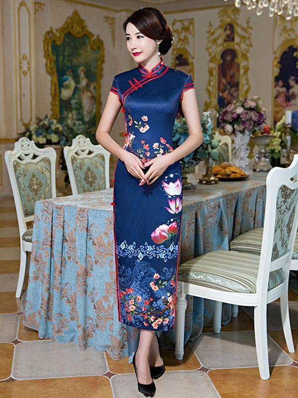 Blossom Lotus Long Cheongsam Dress