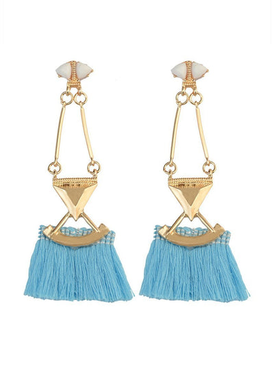 Ethnic-style Silk Thread Tassels Earrings