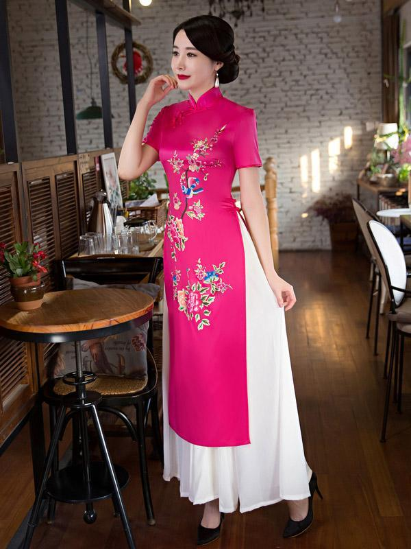 Fuschia Flower&Birds Print Split-side Ao Dai Long Cheongsam