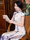 Bamboo Print Stand Collar Long Cheongsam Dress