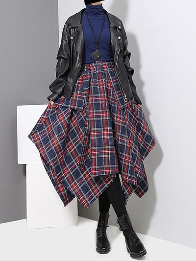 Casual Empire Belt Plaid Cropped Skirt