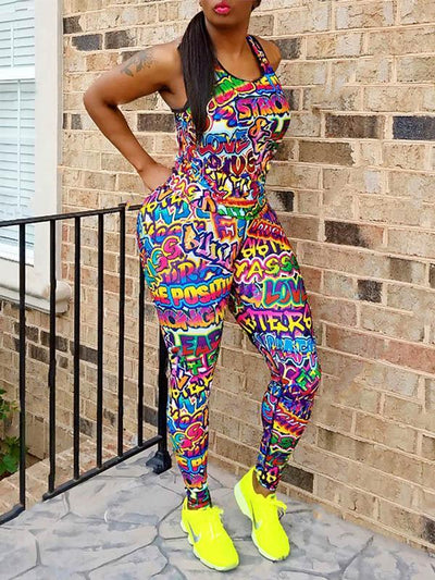 Printed Racerback Tanks And Leggings Sport Suits