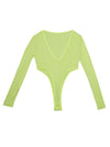 Fluorescent See-through Collect Waist Bodysuit&Leggings Suits
