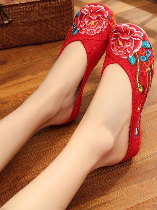 Authentic Oriental Flange Slippers with Floral Ornament
