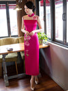 Hollow Embroidered Stand-collar Long Cheongsam