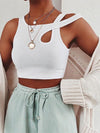 Wrap Solid Color Hollow Exposed Navel Tank