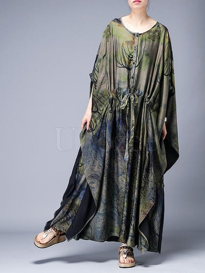 Loose Lace-up Printed Long Dress