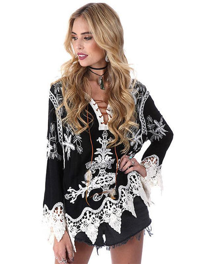 Long Sleeves Bohemia V-neck Floral Blouses&shirts Tops