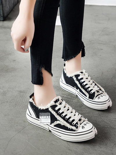 Flat Heels Lace Up Canvas Sneakers