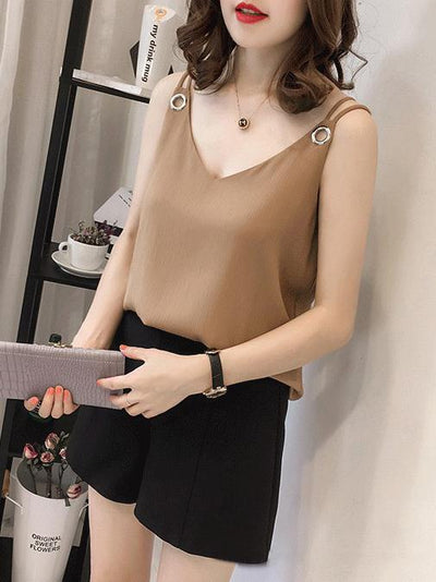 Chiffon Solid Sleeveless Vest