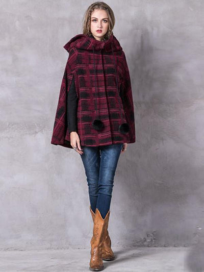 Vintage Plaid Wool Blends Hooded Sleeveless Wool Covered Button Coats Cloak