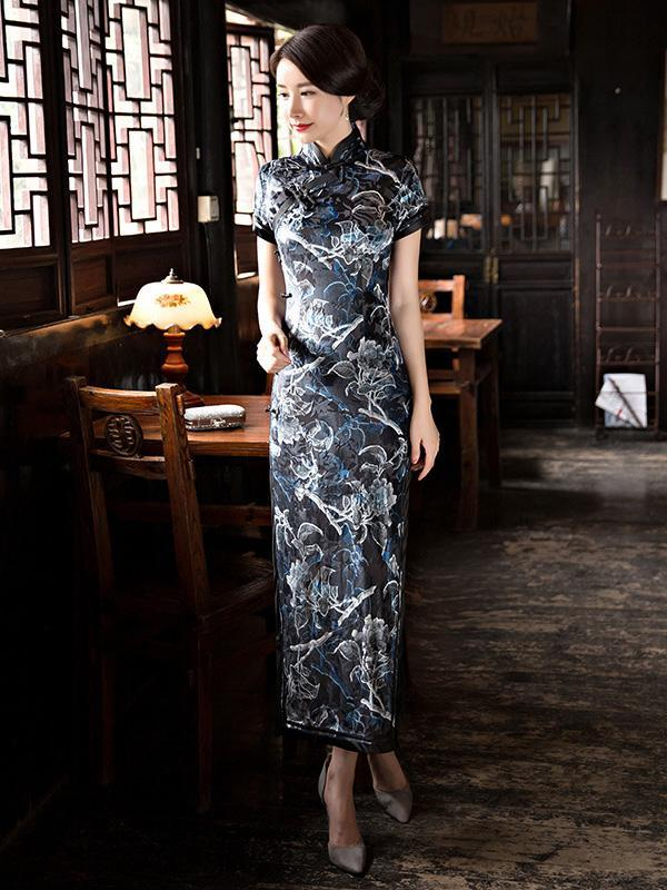 Velvet Floral Side Split Long Cheongsam