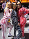 Striped V-neck Fitness Jumpsuits