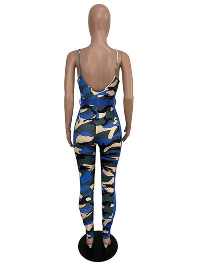 Camo Spaghetti-neck Belt Jumpsuits