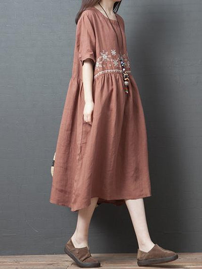 Loose A-line Cotton Long Dress