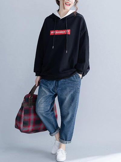 Loose Letter Printed Hooded Sweatshirt