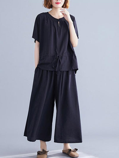 Loose Solid Tops + Wide Leg Pants Suit