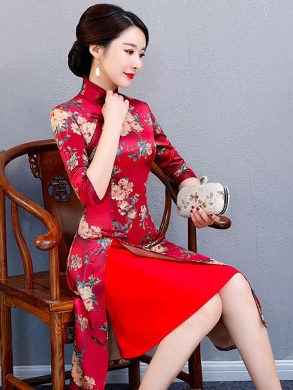 Autumn Flower Print Split-front Stand-collar Long Cheongsam