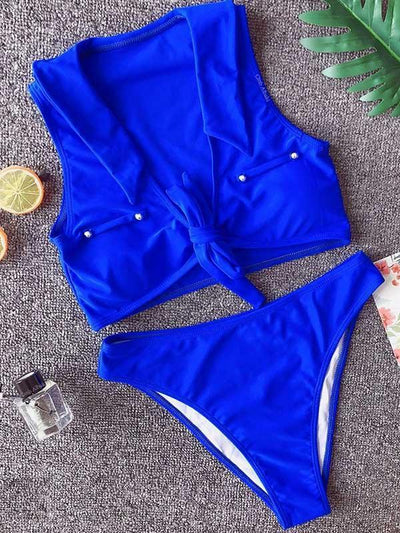 Plain Wire Free Bikinis Swimwear