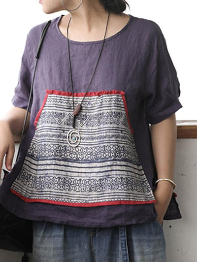 Retro Linen Pocket Split-side T-shirt