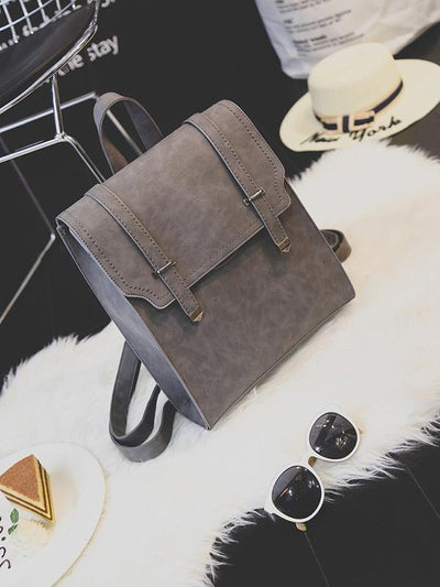 Solid Color Retro Flap Backpack Bag