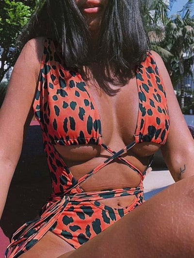 Leopard Hollow Lace Up One Piece Swimsuit