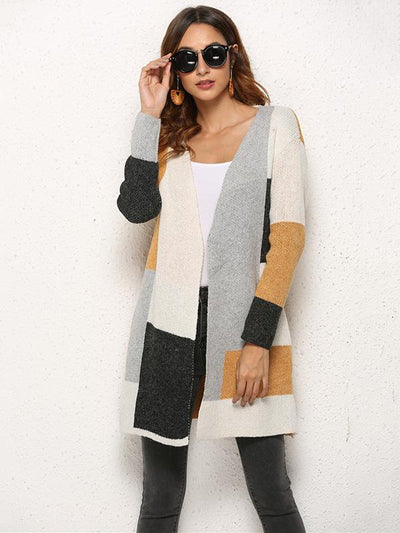 Solid Color Knitting Long Sleeves Cardigans Tops