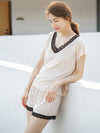 Comfortable Short Sleeve T-Shirt&Wide-Leg Shorts Pajama Suit