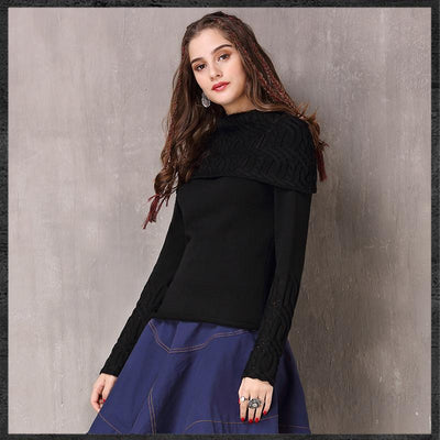 Spring Vintage Cotton Wool Fllower Pullovers Turn-down Collar Full Sleeve Boho Sweater