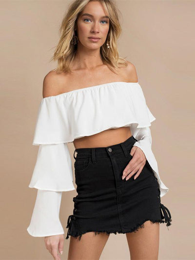 Off-shoulder Flared Sleeve Sexy Blouses&Shirts Top