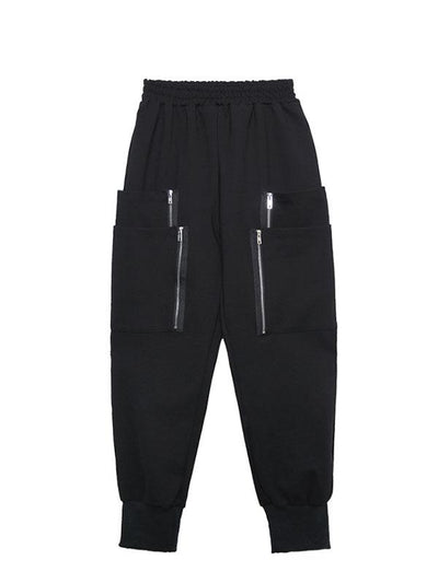 Loose Solid Pocket Zipper Overall Pants