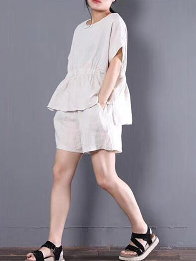 Loose Solid T-Shirt + Wide Leg Shorts Suit