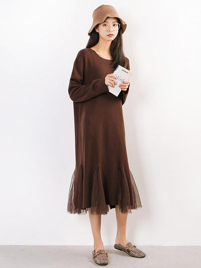 Pure Color Split-joint Knitting Long Dress