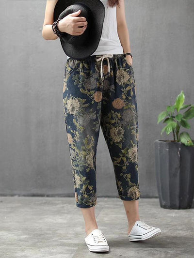 Vintage Summer Loose Printed Jean Pants Shorts