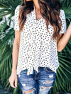 Polka Dot Loose Chiffon V neck Short Sleeve T-shirt