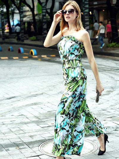 Pretty Floral Off-the-shoulder Backless Long Jumpsuits
