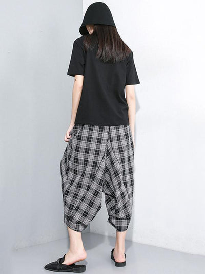 Casual Plaid Elastic Waist Harem Pants