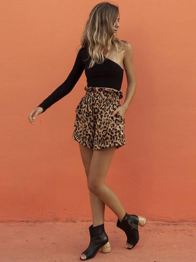 Loose Leopard Casual Elasticity Ruffled Shorts Bottoms