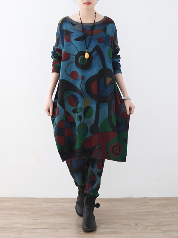 Two-Pieces Vintage Loose Multicolored Sweater And Pants Suit